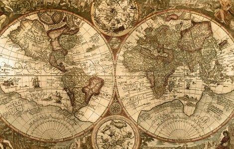 Old World Map Wallpaper Border