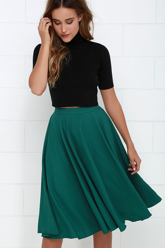 No need for adjustments, the Fine Swoon Dark Teal Midi Skirt is absolutely perfect the way it is