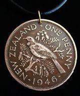 1946 New Zealand Coin Pendant, Penny , Natural Patina, Tui Bird