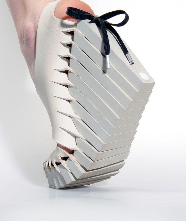 White leather wedge shoes, innovative footwear design details // Barbara Langendijk #Future