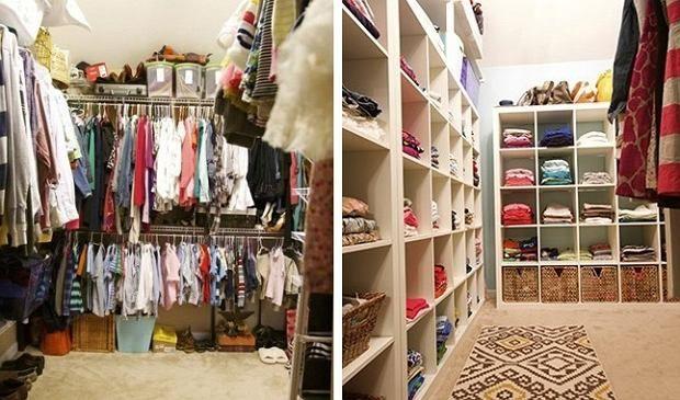 Otwarte symetryczne półki w garderobie pozwolą nam na szybsze znalezienie ubrań.