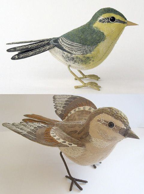 Amazingly Detailed Painted  and Embroidered Fabric Birds