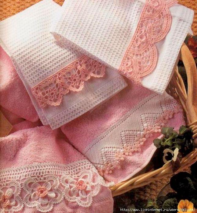 Delicadezas en crochet Gabriela: 4 Modelos de puntillas para aplicar a toallas