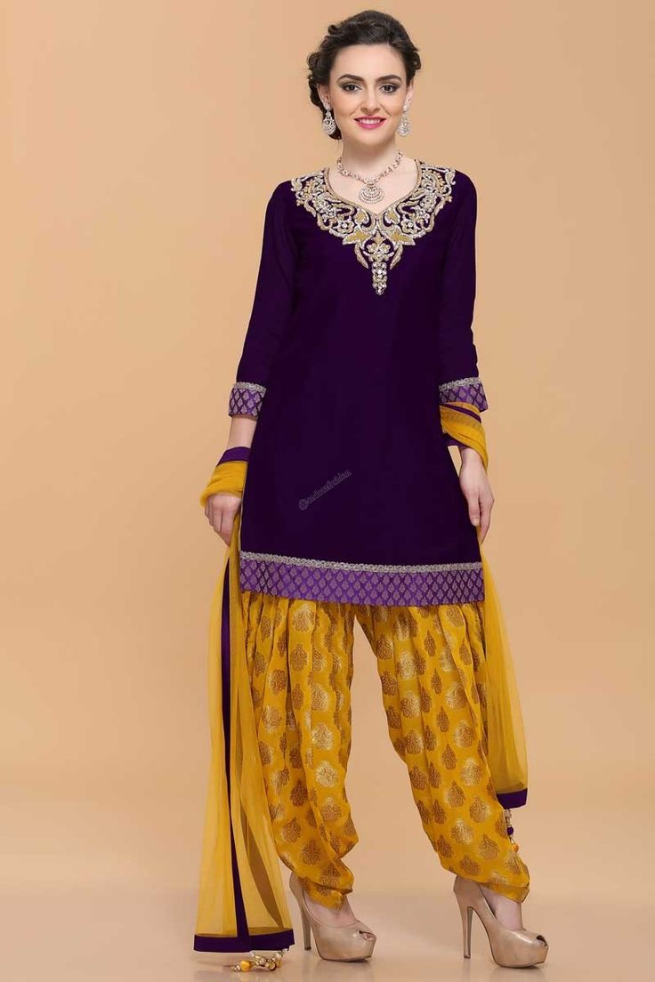 Purple Wine, Silk, ready to wear patiala suit with price RM349.00. Neck and daman/hem embroidered with zari, resham and zircon work.Sweetheart neck, Above knee length, quarter sleeves kameez.   http://www.andaazfashion.com.my/salwar-kameez/patiala-suits/purplw-wine-patiala-suit-1657.html