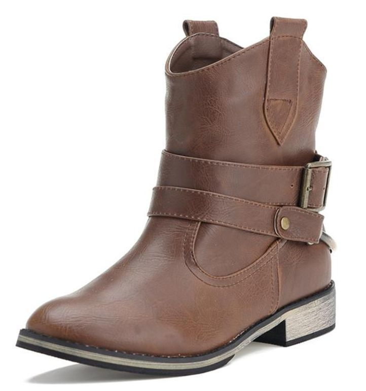Womens Buckle Strap Western Cowbly Motorcycle Biker Ankle Boots Shoes 399-2