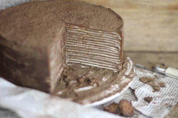 Never seen a cake like this: Chocolate Amaretto Crêpe Cake. #impressive