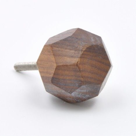 Faceted Wood Cupboard Knob
