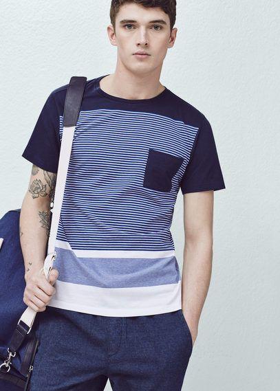 T-shirt coton à rayures | MANGO MAN