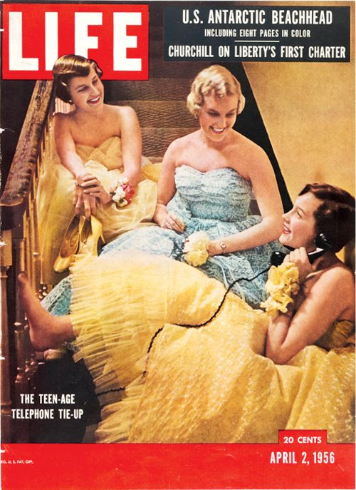 Color photo print ad girls in prom dresses Life Magazine fashion style 50s blue yellow tulle strapless evening gown vintage