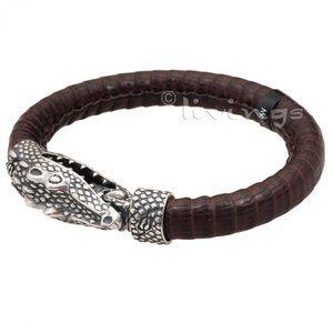 "Plata de Palo Lederarmband ""Reptil Big"" PLATA DE PALO Lederarmband mit Sterlingsilber ""REPTIL BIG"" PLATA DE PALO Leder Armband ""REPTIL BIG"" PLATA DE PALO Leder Armbänder online kaufen"