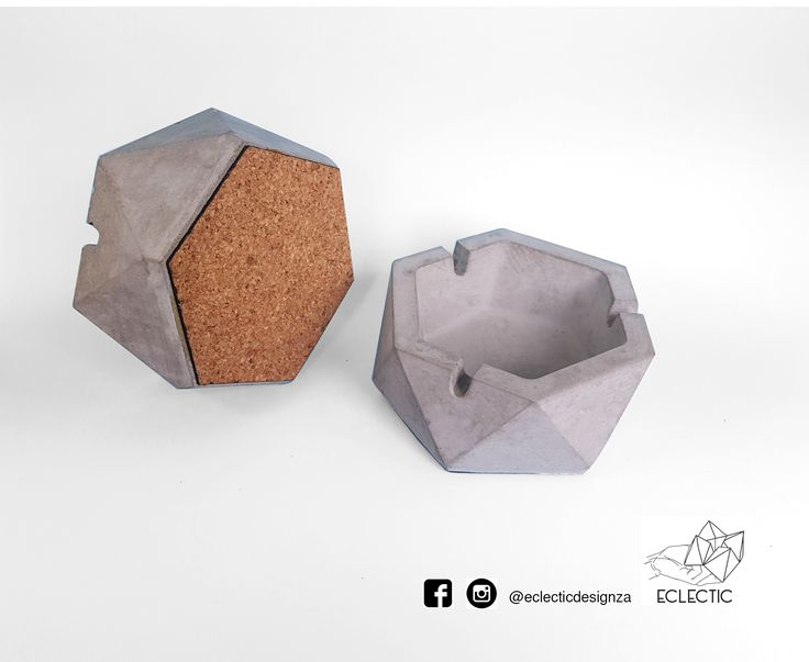 Hexagonal concrete ashtrays