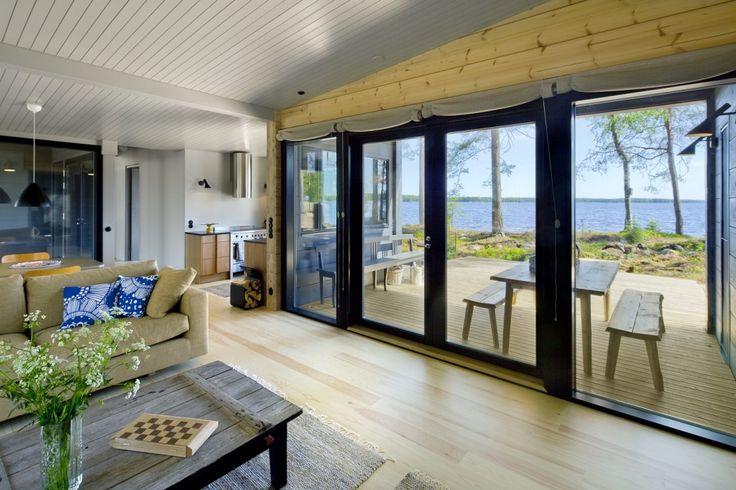 Honka Blockhaus Modell Lokki Wohnzimmer
