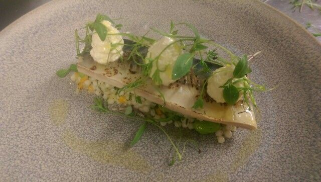 Pickled Line Caught Mackerel on Giant Cous, Shallot Espuma, Microgreens and Lemon Sherbet Dressing #TasteofTheArdilaun #Artisan #Local #ArdilaunBistro