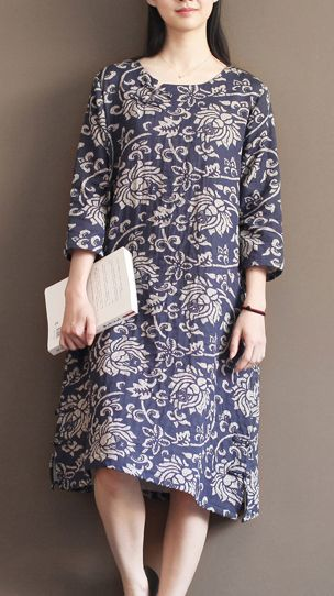 Back to the 1940's, this is the most popular pattern fabric in China, representing honest, peace and wise. Navy floral cotton sundress plus size summer maxi dresses oversize caftan