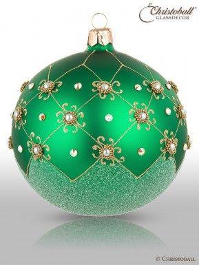 Christbaumkugeln Hellgrün.Prächtig Pompös Christbaumkugeln Smaragd Grün 2er Christoball