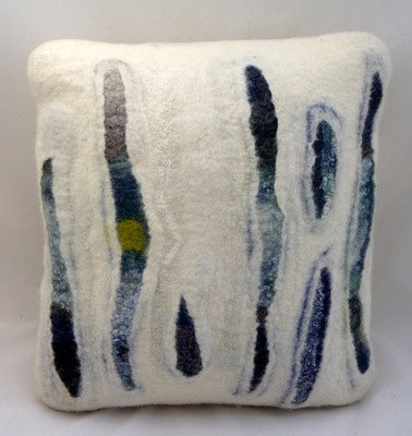 Hand felted abstract cushion 'Wave' Approx 16 x 16 by gladyspaulus, $102.50
