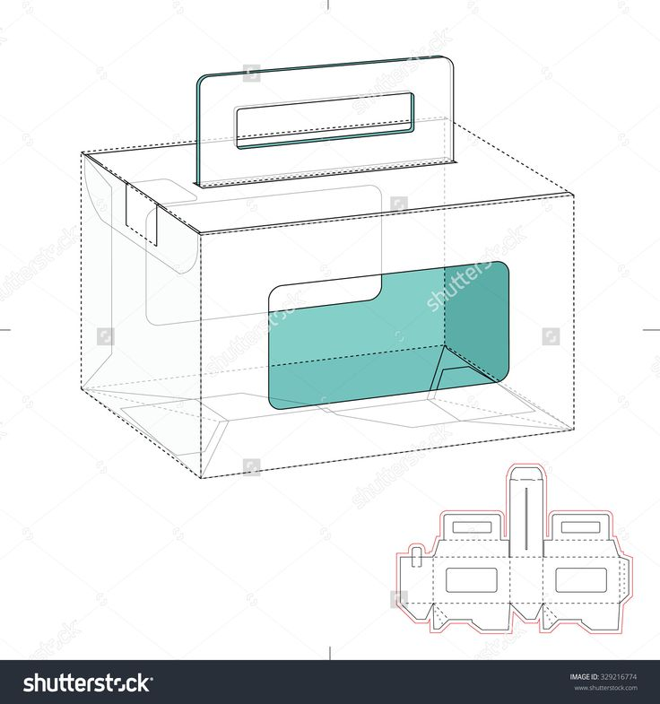 Empty Caring Box With Die Line Template Stock Vector Illustration 329216774 : Shutterstock