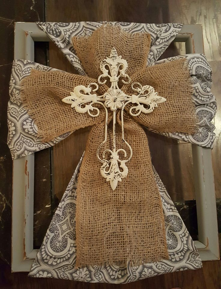 Framed Burlap Cross by Me!