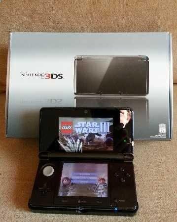 3DS in original packaging with all accessories including stylus, screen wipes, etc. Travel car charger. Power A protective case that doubles as extended battery. 4 games including Pilotwings resort (3DS version), Lego Star Wars 3 (3ds version), Pokemon Soul Silver (DS version) and Animal Crossing Wild World (DS version). Also includes black carrying case with shoulder strap that can hold 3DS, car and home chargers, extra stylus, screen wipes and up to 20 games. All accessories, games, ...