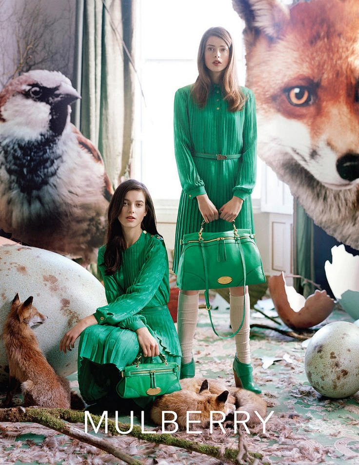 Mulberry campaign/ not sure what color green is this? but I love it. also vintage styling.