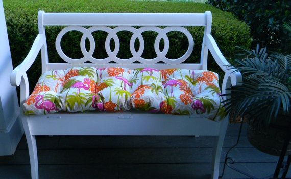 Indoor / Outdoor Pink, Orange, Green Tropical Flamingo Tufted Cushion for Bench / Swing / Glider - Choose Size