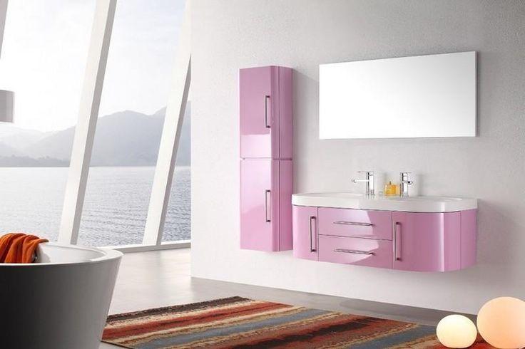 Meuble salle de bain double vasque rose violet laqué brillant, 120 cm, SDB-2081-RV