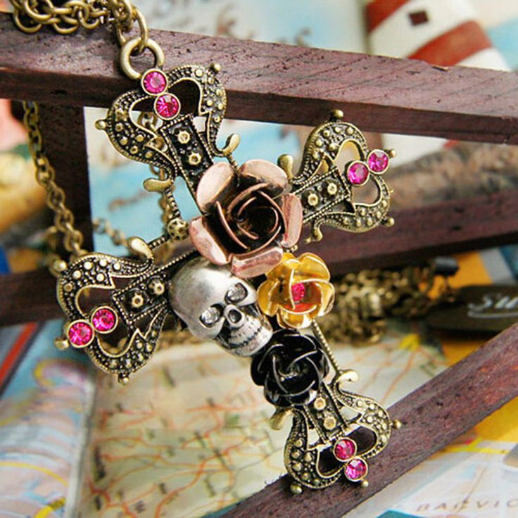 Antique Bronze Cross Skull Pendant Necklace //Price: $7.99 & FREE Shipping //     #skull #skullinspiration #skullobsession #skulls