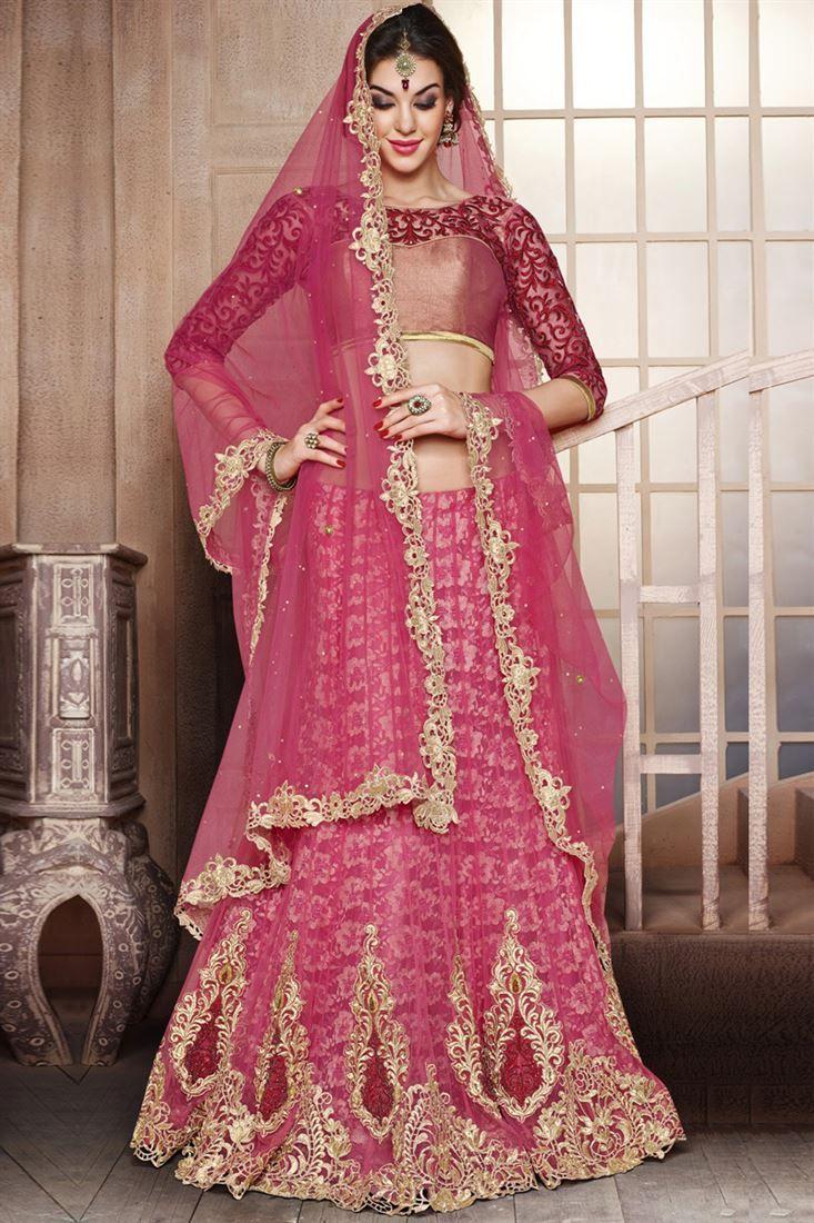 Alluing Bridal Wear Net Lehenga Choli
