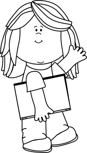 Black and White Girl with Book Waving Clip Art - Black and White Girl with Book Waving Image
