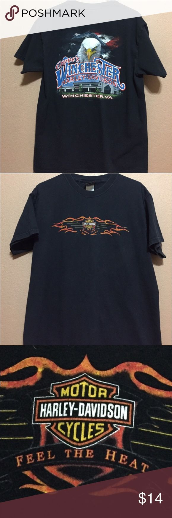 """2008 Harley Davidson Winchester VA Tshirt Tshirt is almost a decade old so shows signs of fading and graphic has some minor cracking. But still has awesome character and great for the HD enthusiast who likes collecting HD tshirts. Eagle is on the back. Size Large. Measurements: underarm to underarm 21"""". length 27.5"""" 🏍 Harley-Davidson Shirts Tees - Short Sleeve"""