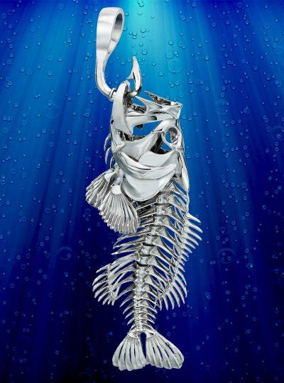 Skeleton fish jewelry large mouth fresh water bass for Fish skeleton necklace