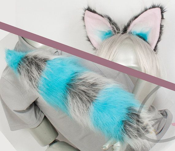 Fluffy Cheshire Cat Ear and Tail Set Cosplay by lemonbrat on Etsy