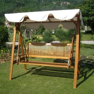 High Quality International Caravan Royal Tahiti 3 Seater Garden Swing With Canopy By  International Caravan