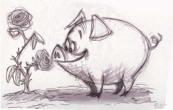 Поросята картинки смешные нарисованные карандашом