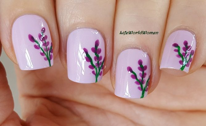 Lavender Nail Art Floral Nails Tutorial Flower Nails Design Spring Diy Nail Designs