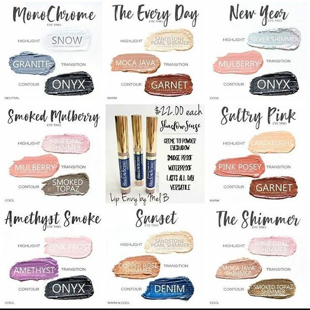 """ShadowSense color blend ideas. For LipSense and/or SeneGence orders, join my """"JAM Lips and Listings"""" FB group or email me at melodybarlow@gmail.com.  Distributor 430829"""