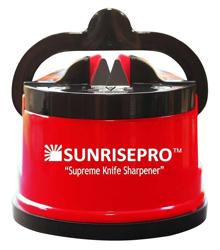 SunrisePro Knife Sharpener, USA patented, Original, Red