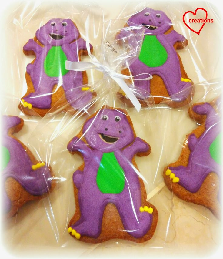 Loving Creations for You: Barney the Dinosaur Brown Sugar Cookies