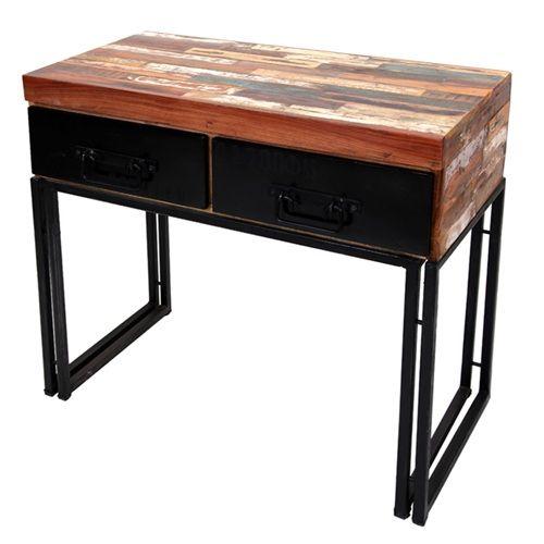 Consola 2 cajones madera hierro estilo industrial for Consola estilo industrial