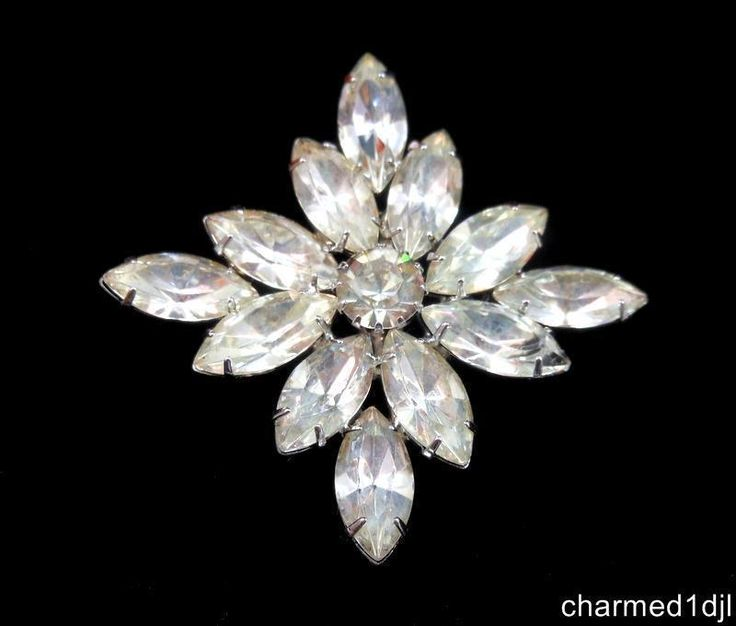 Vintage Chunky Clear Rhinestone Brooch Rhodium Plated Unsigned Weiss #Unbranded