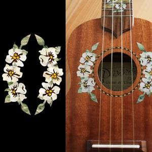 Hibiscus Flowers Rosette for UKULELE Sound Hole Purfling Inlay Stickers Decals