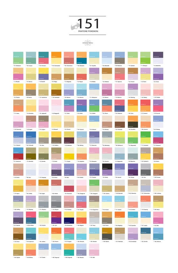 Pantone Pokemon by StephanieTrimboli on Etsy