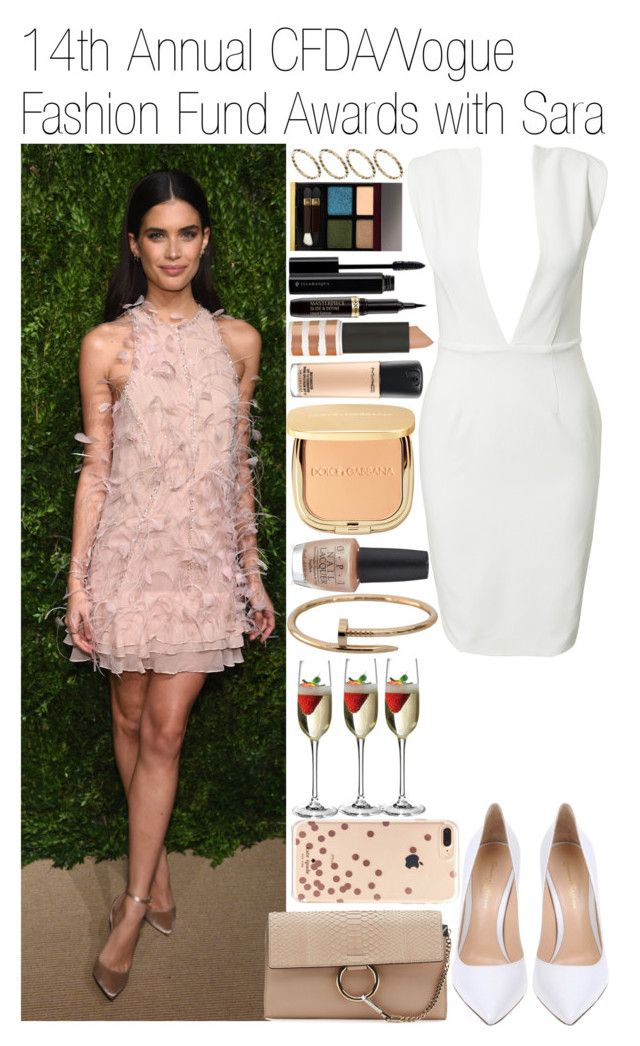 """• 14th Annual CFDA/Vogue Fashion Fund Awards w/ Sara"" by dianasf ❤ liked on Polyvore featuring Solace, Gianvito Rossi, Chloé, Kate Spade, OPI, Sephora Collection, Topshop, MAC Cosmetics, Dolce&Gabbana and Illamasqua"