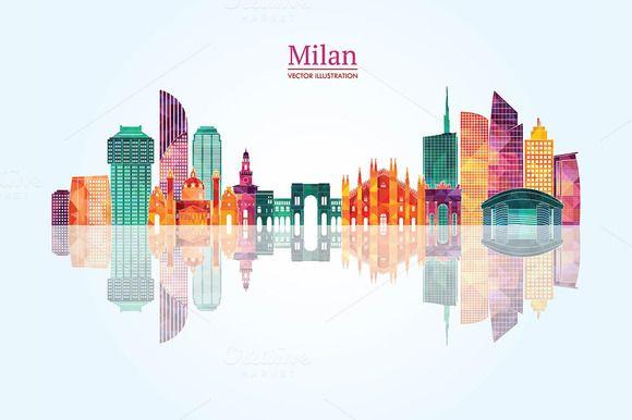Milan detailed skyline. by LisaKolbasa on @creativemarket