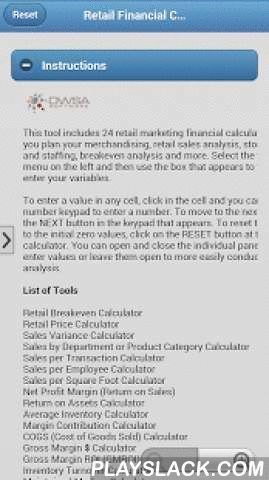 Retail Marketing Toolkit  Android App - playslack.com , The retail marketing toolkit includes 24 retail marketing financial calculators to help you plan your merchandising, retail sales analysis, store planning and staffing, breakeven analysis and more. Select the tool from the menu on the left and then use the box that appears to the right to enter your variables. Tools included: Retail Breakeven Calculator Retail Price Calculator Sales Variance Calculator Sales by Department or Product…