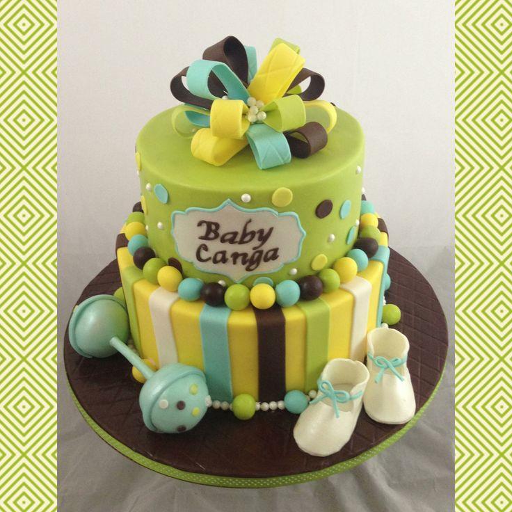 Blue Green Brown Yellow White Baby Shower Cake