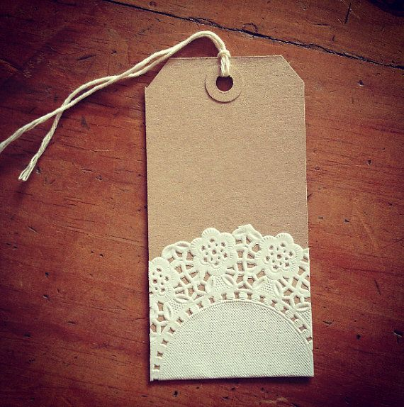 Set of 10 vintage style brown and lace design gift tags, name place cards, table dressing