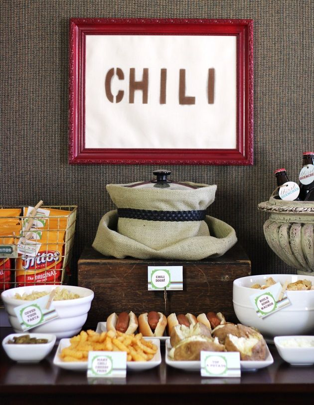 chili bar--brilliant for a Fall party or Football Sunday. May do this with our Pumpkin Carving Party.