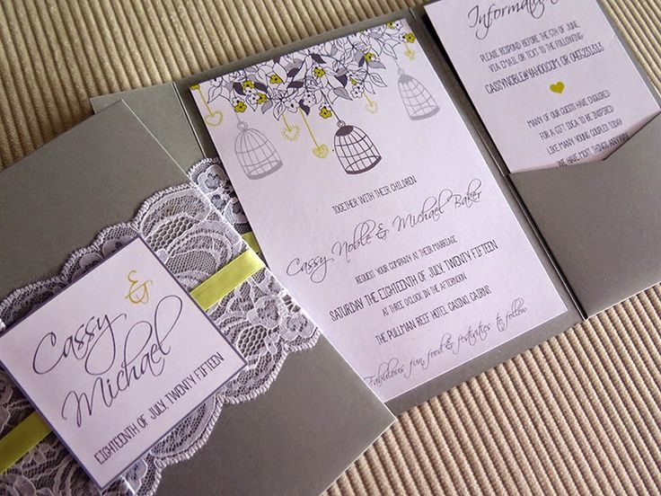 Custom designed #silver & #yellow #lace Pocket-Fold #Invitation