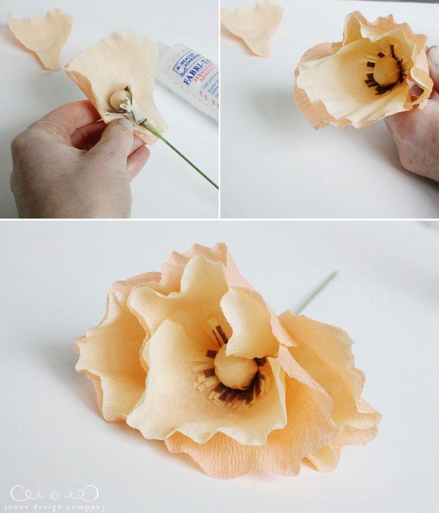 DIY Poppy Flowers - crepe paper poppies (tutorial)